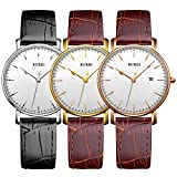BUREI Womens Stylish Quartz Watches with Anolog Dial Datejust Scratch Resistant Window Leather Band