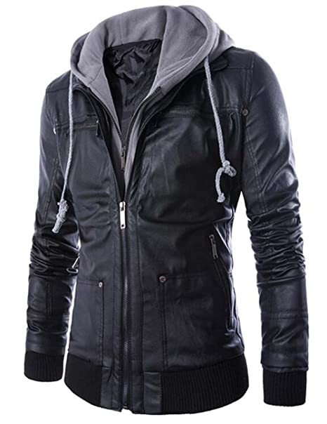 Naughtyman Mens Fitted Hoodie Faux Leather Jackets Coat