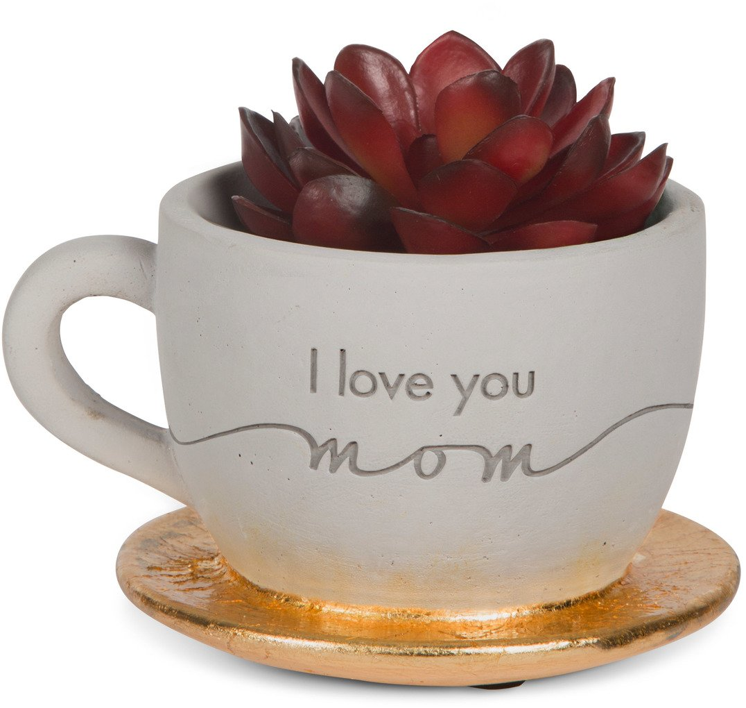 Pavilion Gift Company 42120 I Love You Mom Cement Tea Cup Planter, 4 x 2-1/2''
