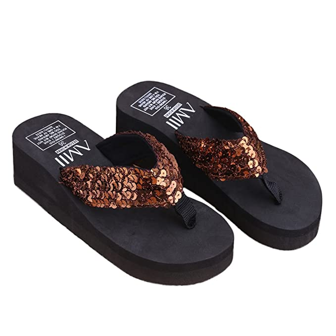 JAGENIE Summer Soft Women Wedge Sandals Sequin Thong Flip Flops Platform Slippers Brown 40