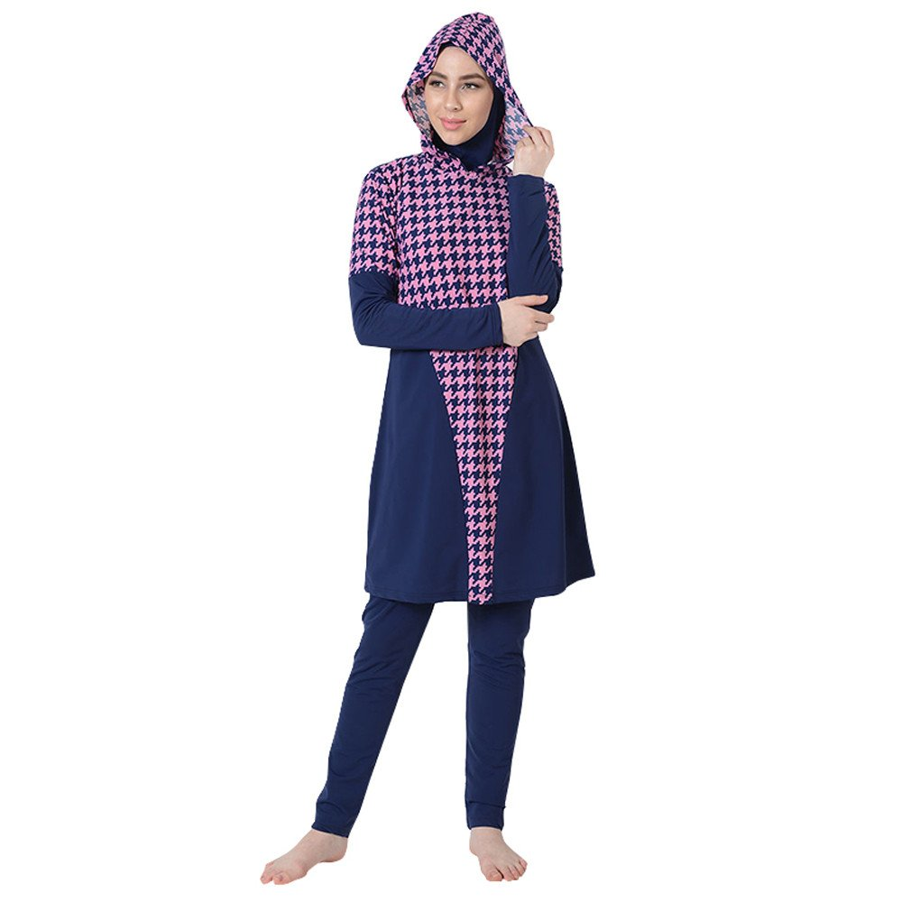 Pink Houndstooth Swimwear BurkiniFinal Sale