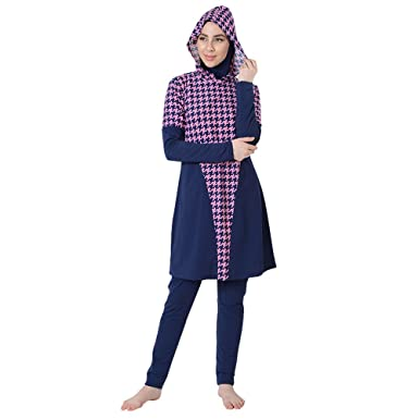 1545fefa0f29d Amazon.com: Pink Houndstooth Swimwear Burkini-Final Sale: Clothing