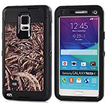 MOONCASE Galaxy Note 4 Case, [Realtree Camo Series] 3 Layers Heavy Duty Defender Hybrid Soft TPU +PC Bumper Triple Shockproof Drop Resistance Protective Case Cover for Samsung Galaxy Note 4 -Black Grass