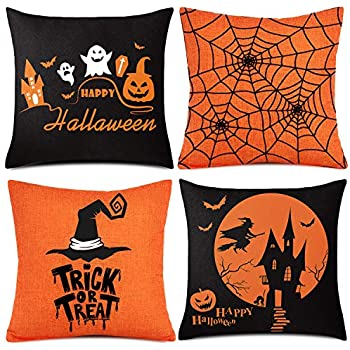 Whaline 4 Pieces Halloween Pillow Case, Orange and Black Pillow Cover, Happy Halloween Linen Sofa Bed Throw Cushion Cover Decoration (18