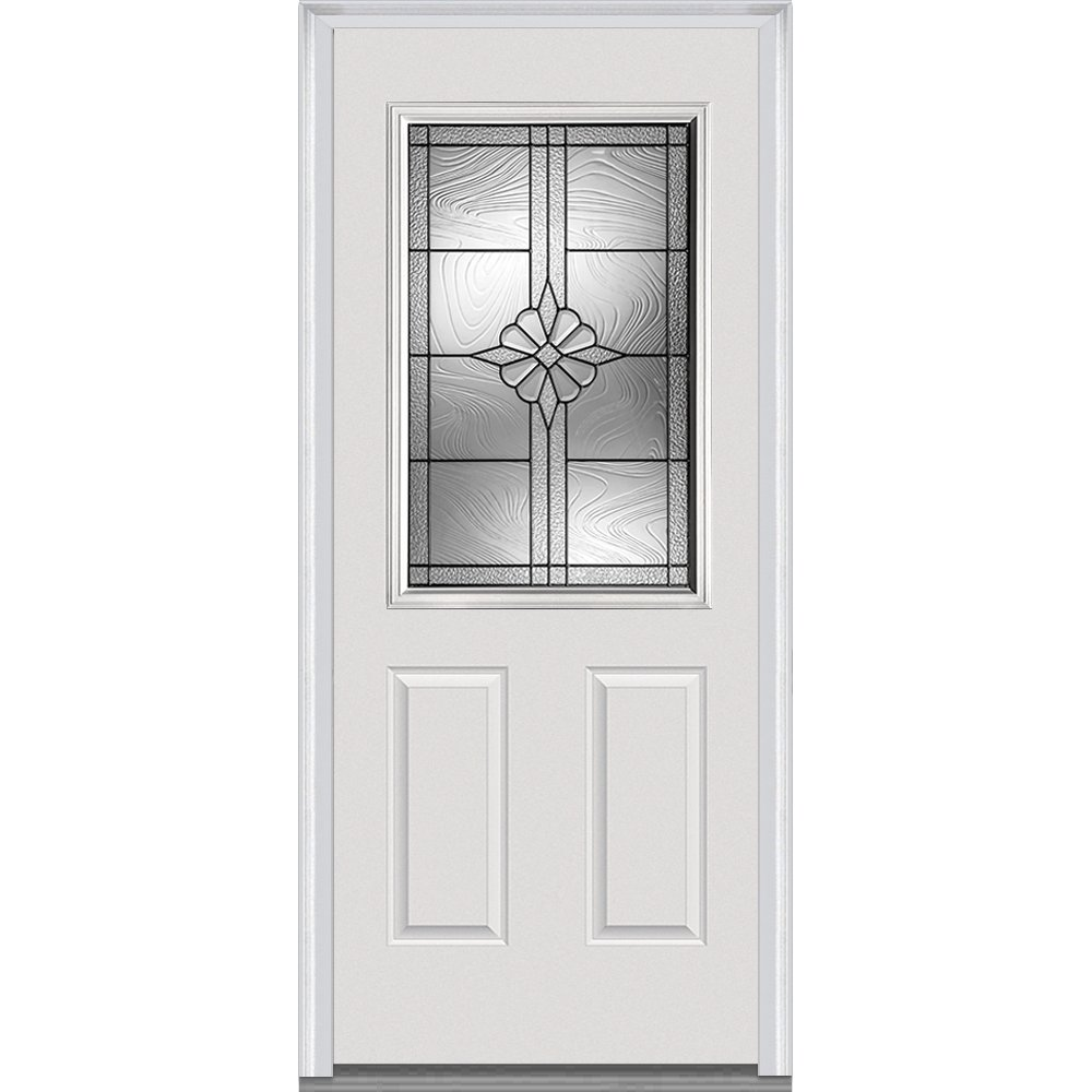 National Door Company Z021405L Majestic Steel Prehung Left Hand In-Swing Entry Door, 1/2 Lite, 2-Panel, Dahlia Collection, 36'' x 80''