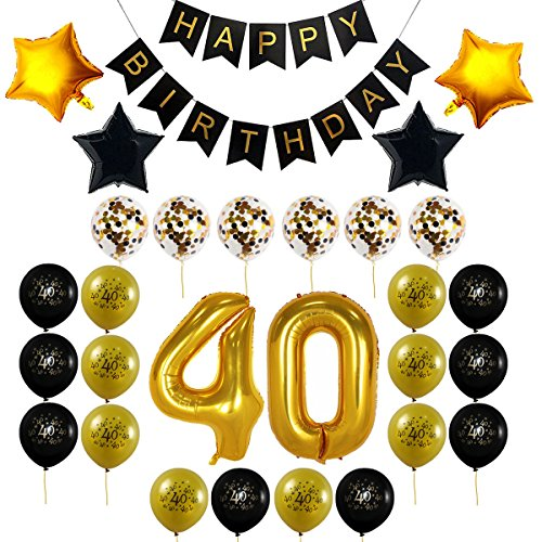 40th Birthday Decorations Gift for Men Women Party Supplies - 40th Birthday Balloons, Happy Birthday Banner, 40 Gold Number Balloons, Black and Gold Balloons