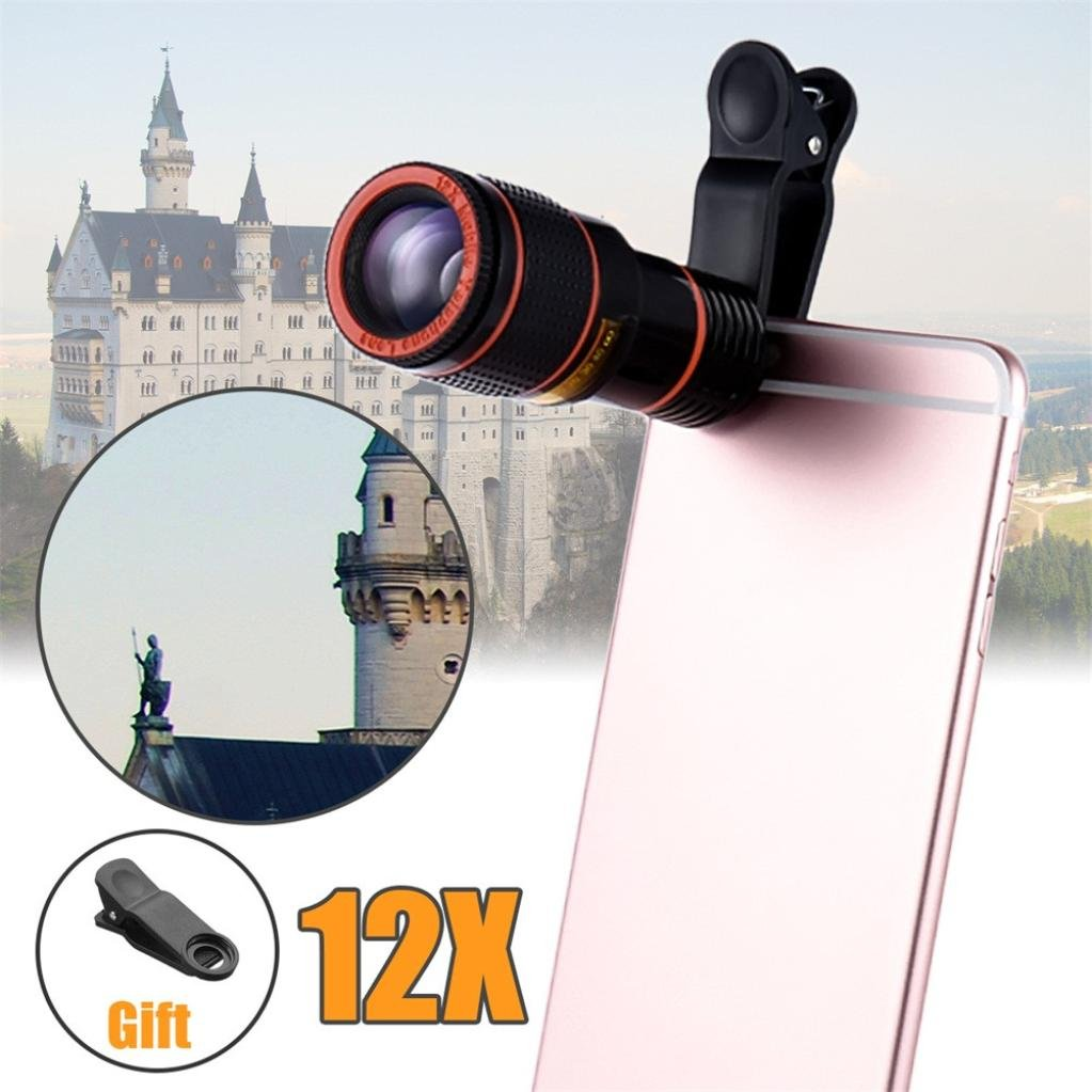 Hot 12X Zoom Telephoto Cell Phone Camera Lens, Tuscom Zoom Telephoto Universal Clip On Lens Kit for iPhone 8/7/6S/6 Plus/5/4,Samsung,Samsung, Google, LG, Android and Other Phones (Black) by Tuscom (Image #3)