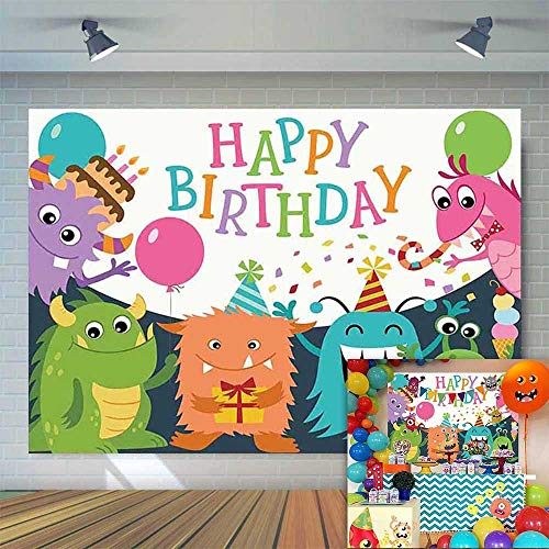 Allenjoy 7x5ft Little Baby Monster Backdrop Confetti Rain Balloons Kids Birthday Party Photo Background Cake Table Banner Photobooth Props -