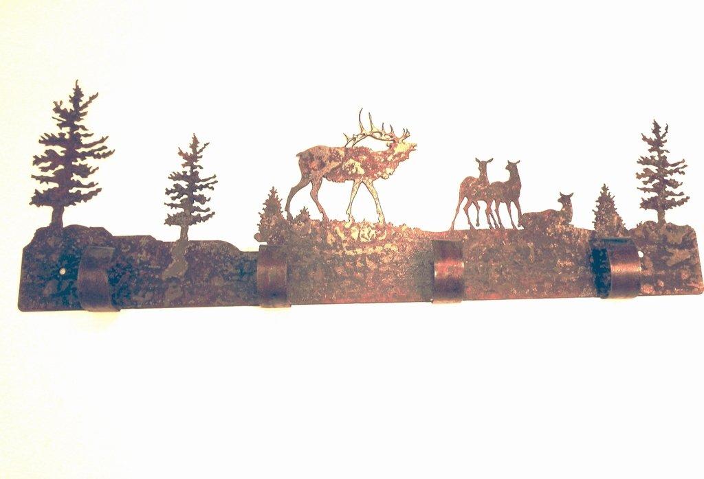 1st American Metal Art Coat Garment Elk Family Rustic Rusted Wall Hangers 4 Hook 8.75'' h X 23'' w