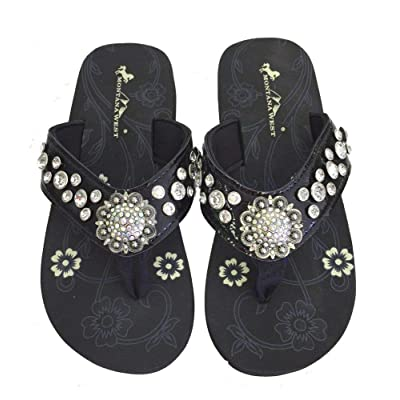 Montana West Women Flip Flops Shiny Bling Sandals Crystals Floral Concho Black 7 | Sandals