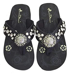 4ca6879ad9051 Montana West Women Flip Flops Shiny Bling Sandals Crystals Floral Concho  Black