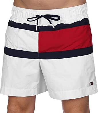 ee5d25917a Tommy Hilfiger Men's Medium Drawstring Swimshorts, White | Amazon.com