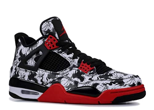 moda popularna marka bliżej na Jordan Mens AJ 4 Retro Singles Day/Tattoo Basketball Sneaker (Black/Fire  Red-Black-White, 11 M US)