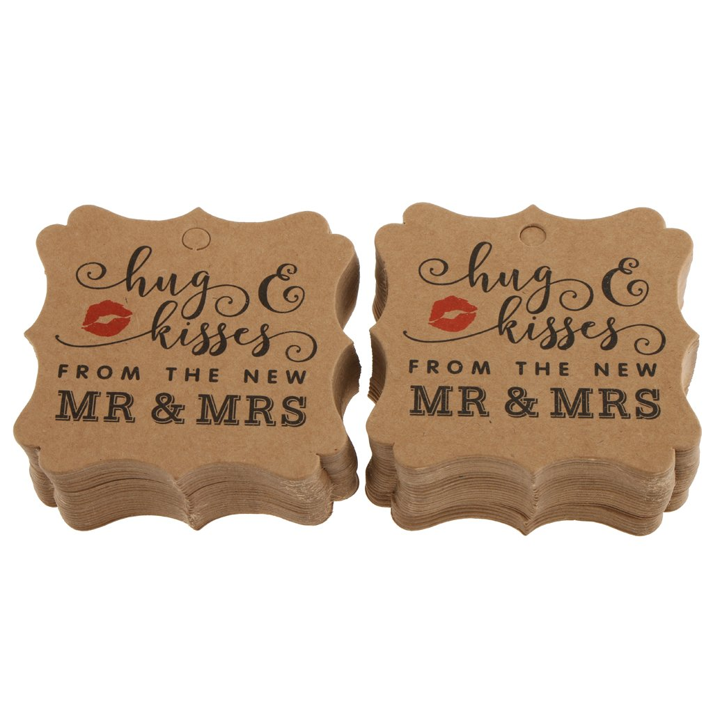 White 6 x 6 cm MonkeyJack 100pcs Romantic Wedding Hugs Kisses Kraft Hanging Tags Label Luggage Valentines Day Cards Gifts Tags with Twine 6 x 6cm