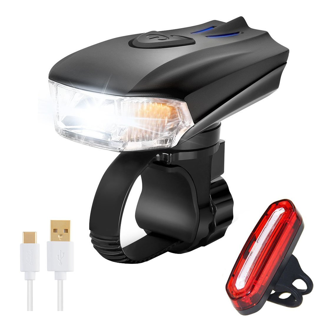 Super Bright Bike Light Set USB Rechargeable Front and Rear LED Bicycle Light Set Waterproof Automatic Light Adjusting Energy-Saving Mode Easy To Install Cycling Safety Commuter Flashlight BEST For Mountain Road, Kids and City Bicycle DUBUT21