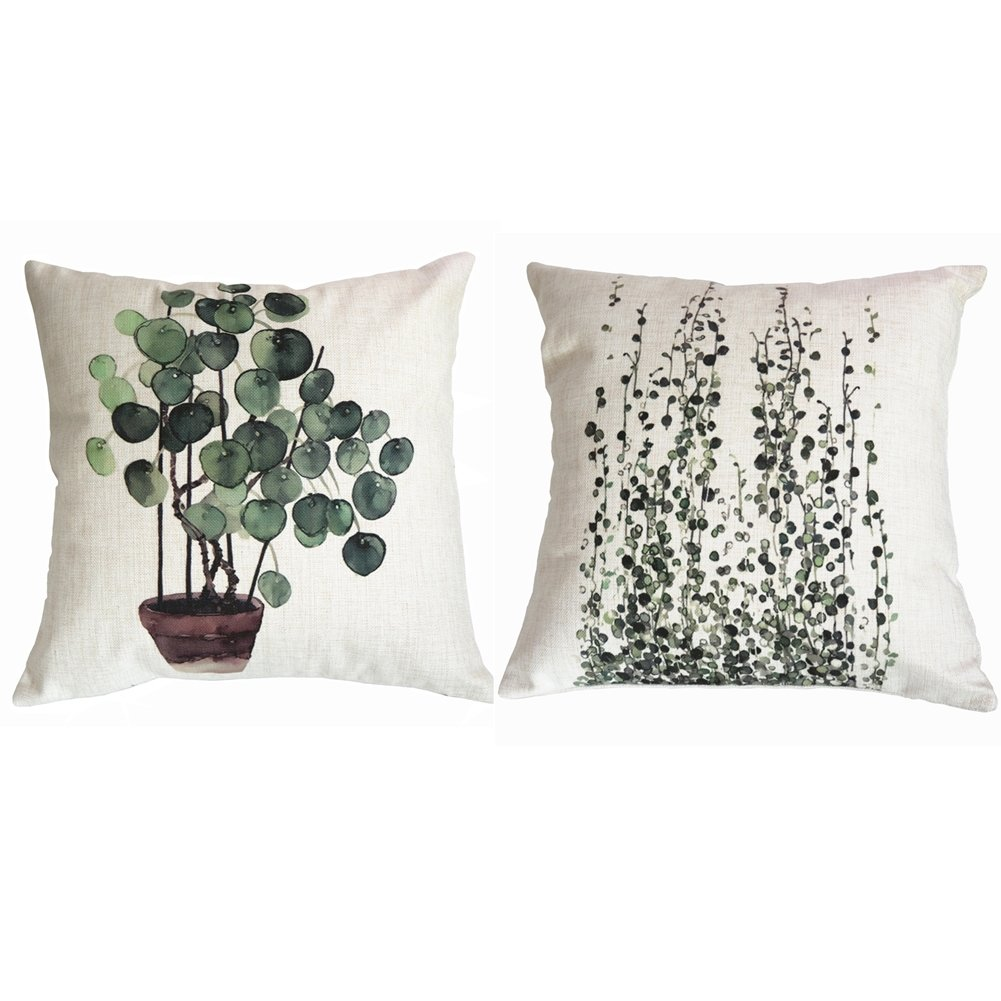 Mofeng 18x18 Abstract Watercolor Throw Pillow Covers Home Decor Pillowcases Cotton Linen Cushion Covers Set of 2