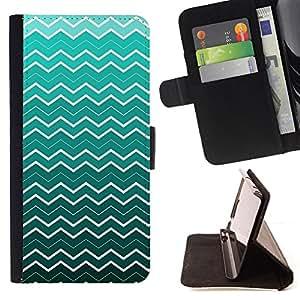 BullDog Case - FOR/Sony Xperia Z1 Compact D5503 / - / waves wallpaper pattern turquoise white art /- Monedero de cuero de la PU Llevar cubierta de la caja con el ID Credit Card Slots Flip funda de cuer