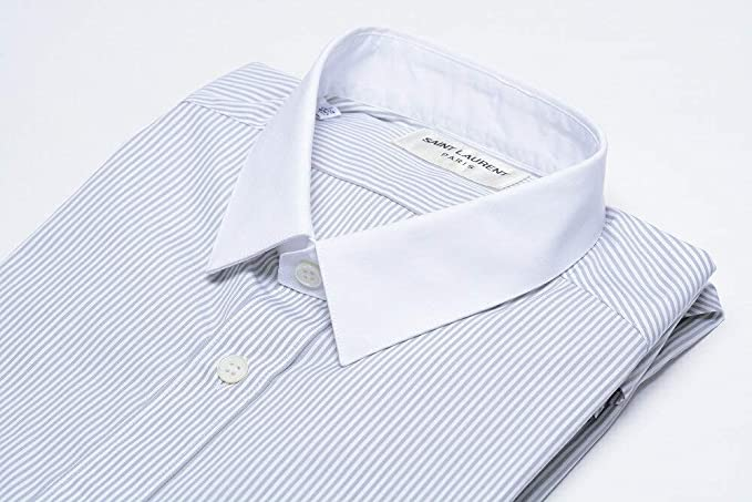 003d8fe465fb SAINT LAURENT PARIS (サンローラン) シャツ クレリック ストライプ コットン 100% メンズ ブランド イタリア