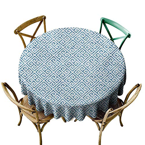Outdoor Tablecloth 70 inch Greek Key,Tile Mosaic Pattern in Blue and White with Antique Meander and Camo Effect,Baby Blue White Printed Indoor Outdoor Camping Picnic Circle Table Cloth