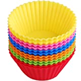 Silicone Baking Cups Muffin Cupcake Liners Molds Set - 12 Pack Premium Reusable & Nonstick - Standard Size Baking Cups in 6 Colors