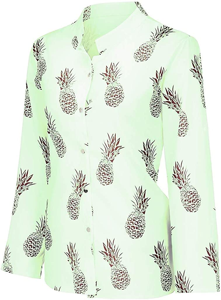 Women Long Sleeve Shirt Tops Ladies Mesh Pineapple Printed Button T-Shirt Blouse Tunic Tops