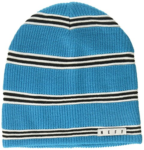 Neff Stripe - NEFF Men's Daily Stripe Knit Slouchy Beanie, Cyan/White/Black, One Size
