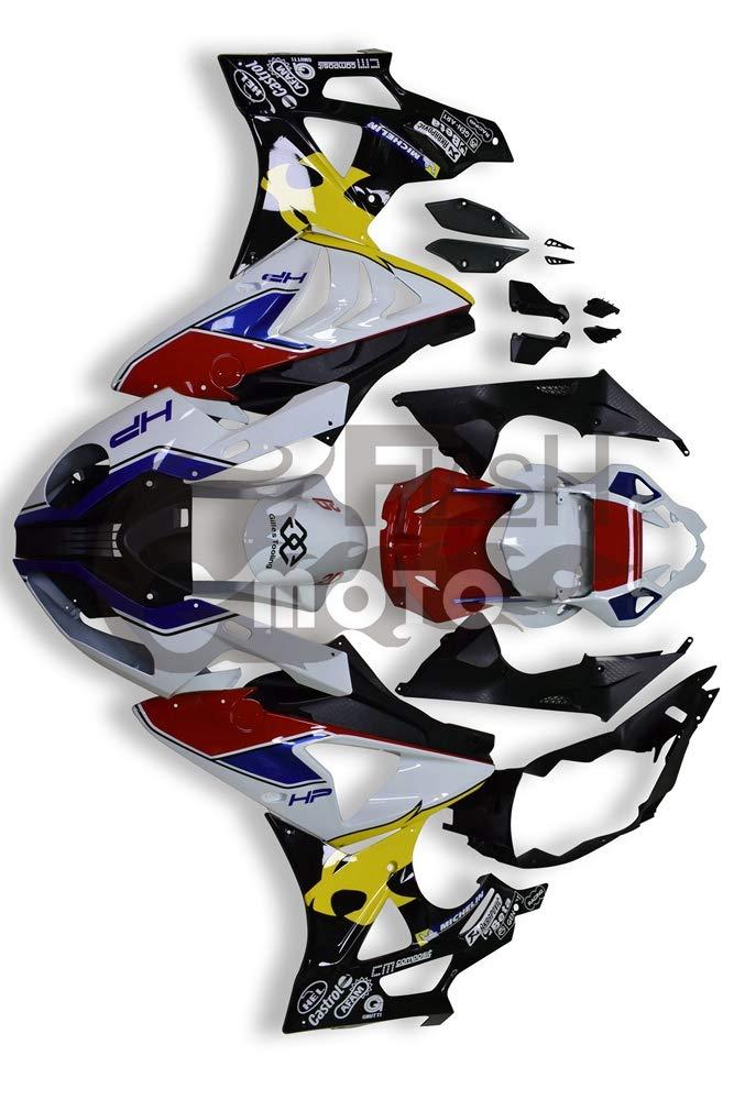 FlashMoto bmw S1000RR 2012 2013 2014用フェアリング 塗装済 オートバイ用射出成型ABS樹脂ボディワークのフェアリングキットセット レッド, ブラック   B07L89D6SV
