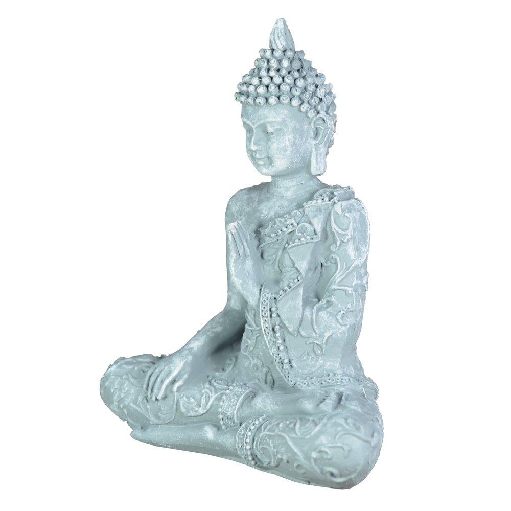 Zen Buda estatuilla Meditaci/ón Luz SBM1 1 Piedra Gris 10 x 5 x 12 cm