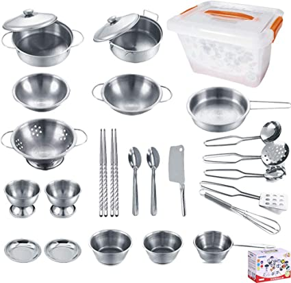 Amazon Com Kejih Cooking Utensils Set 25 Pieces Stainless Steel Kitchen Toys Pretend Play Pots Pans Toy Cookware Kits For Kids Come With A Handy Storage Box Role Play Educational Toys For Toddlers
