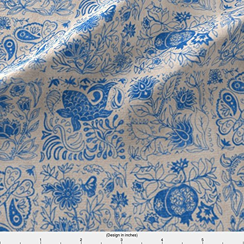 Folk Tales Fabric Palace Garden | Lapis Lazuli Woodblock Tile by Forest&Sea Printed on Kona Cotton Ultra Fabric by the Yard by Spoonflower - Lapis Lazuli Tiles