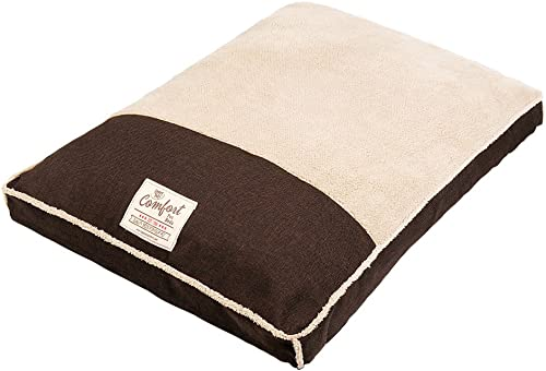 Happy Tails Faux Linen Gusseted Bed for Pets, 27 by 36-Inch, Chocolate Brown