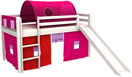 Cama de juego,cama para niños,de alta,cama con tobogan,tunel,cortinas,colchon: Amazon.es: Bebé