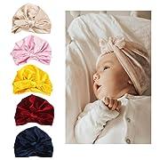 LHTHZHY Baby Hat- Newborn Baby Girl Soft Turban Hat Knot Rabbit Cap (TZ-B (5pcs))