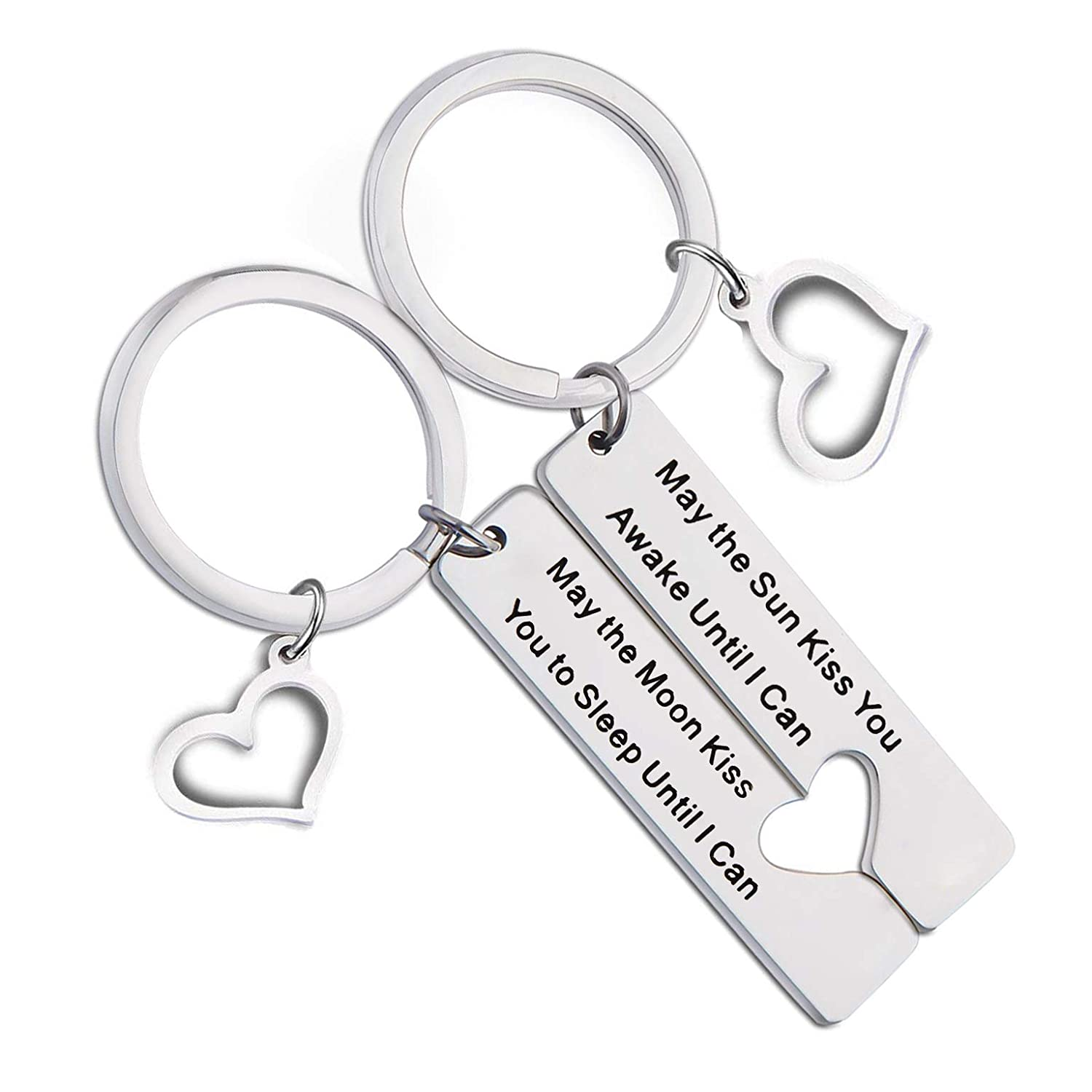 QIIER Couples Keychains Set May the Sun Kiss You Awake Until I Can May the Moon Kiss You to Sleep Until I Can Keychain Set Anniversary B07G31N9NM_US