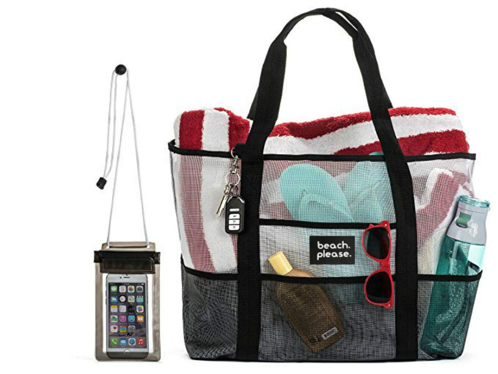 UPGRADED MATERIAL! Heavy Duty Mesh Bag – Beach Bag, Toy Tote Bag –Lightweight Extra Large Market, Grocery & Picnic Tote with Oversized Pockets