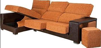 MUEBLES MATO - Sofa cheslong medeas izq. Marron y Naranja