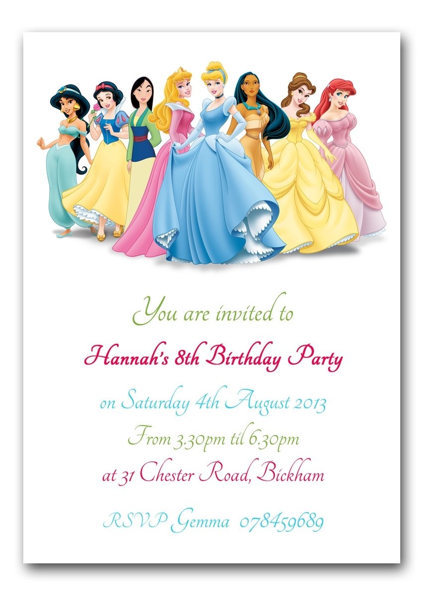 Personalised Disney Princesses Birthday Party Invitations: Amazon ...