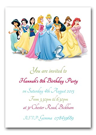 Personalised Disney Princesses Birthday Party Invitations Amazon - Birthday party invitation uk