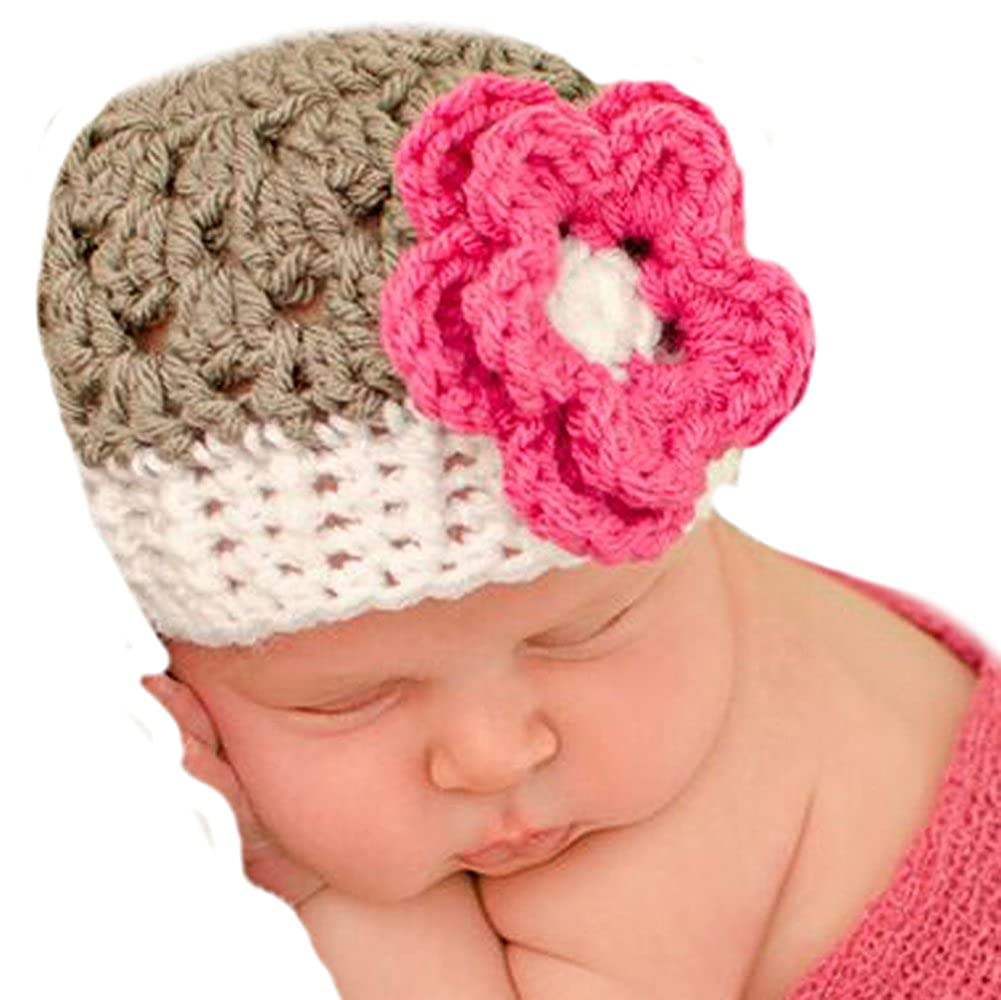 Baby Girls Melondipitys Gorgeous Grey and Pink Flower Beanie