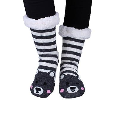 Kokkn Womens Warm Fuzzy Knee Highs Stockings Cartoon Animal Non-Slip Slipper Socks (Bear): Clothing