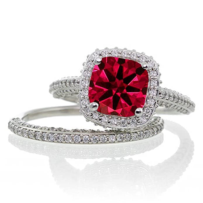 Amazon.com: 2,5 Carat Corte Cojín Diseñador Ruby y diamante ...