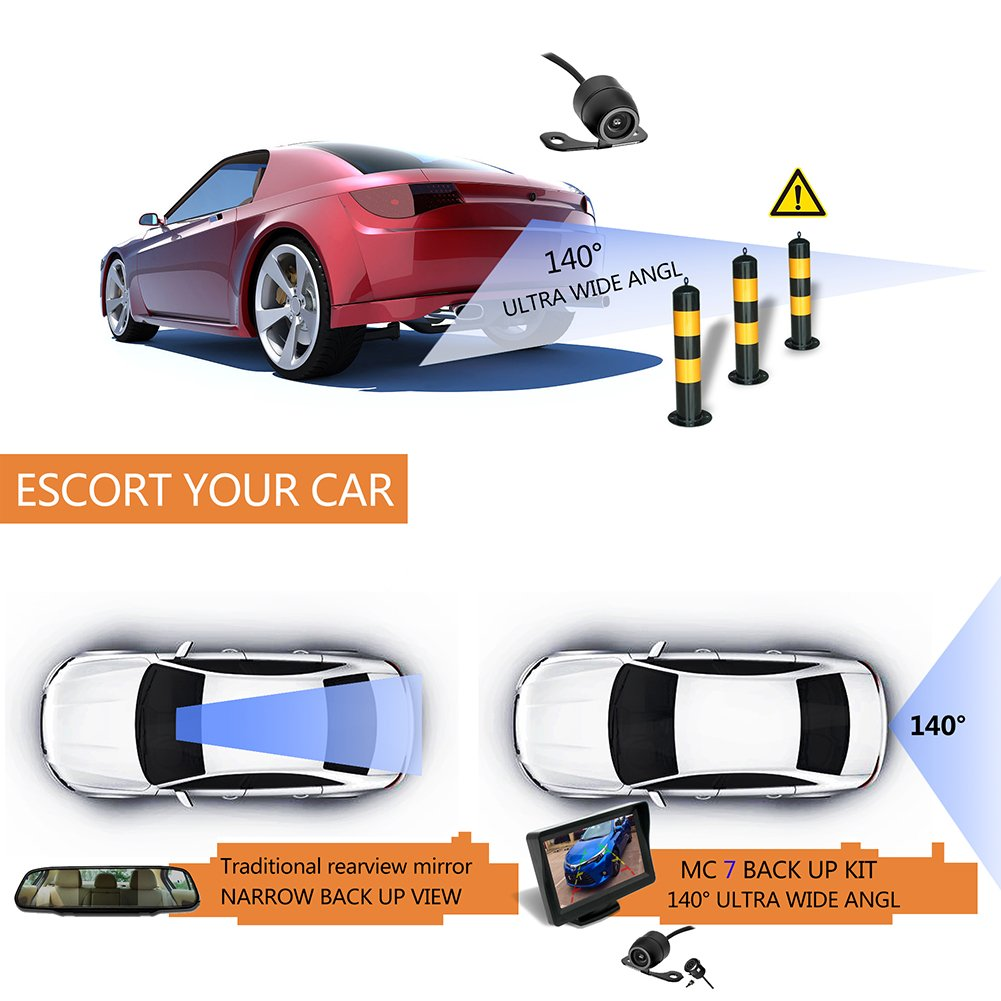 36 Month Warranty Backup Camera and Monitor Kit For Car//MPV//PICKUP//Truck//SUV,Universal Wired Waterproof Rear-view 2-installation Car Rear Backup Camera 4.3 LCD Rear View Monitor Midcourse Electronic MC 7