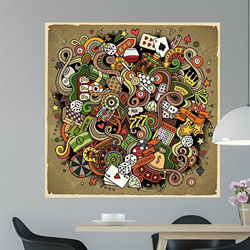 Cartoon Hand-drawn Doodles Casino Wall Mural by Wallmonkeys Peel and Stick Graphic (48 in H x 48 in W) WM368309 by Wallmonkeys Wall Decals