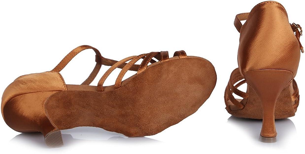 SWDZM classique Chaussures Femme Latines en Satin Chaussure de RumbaCha cha chaSamba Salle de bal Modèle IA 4030