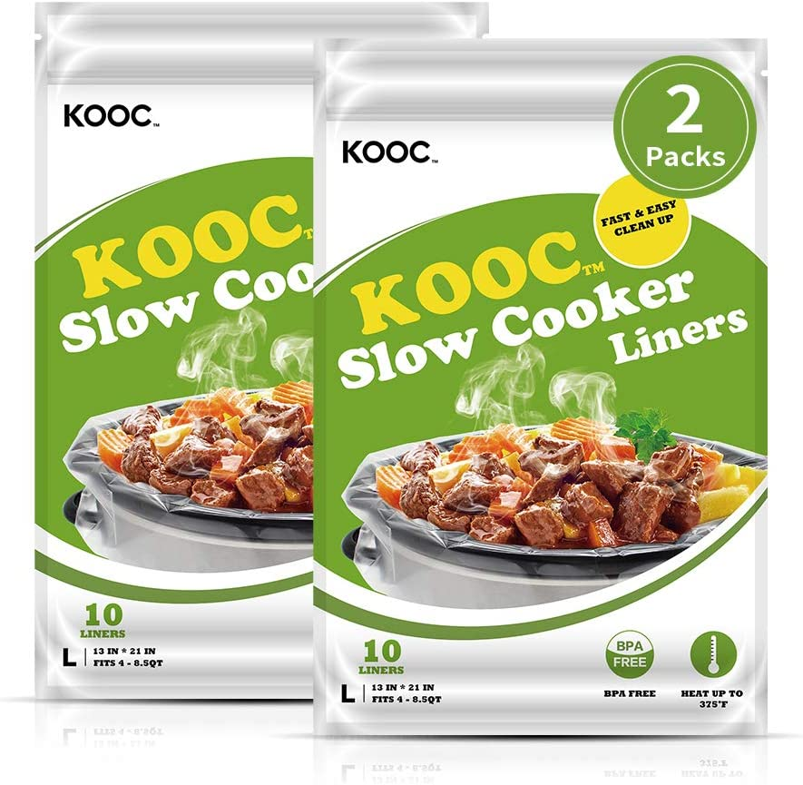 [NEW]KOOC Premium Slow Cooker Liners and Cooking Bags, Large Size Fits 4QT to 8.5QT Crock Pot, 13