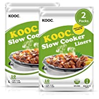 """[NEW]KOOC Premium Slow Cooker Liners and Cooking Bags, Large Size Fits 4QT to 8.5QT Pot, 13""""x 21"""" , 2 Packs (20 Counts…"""