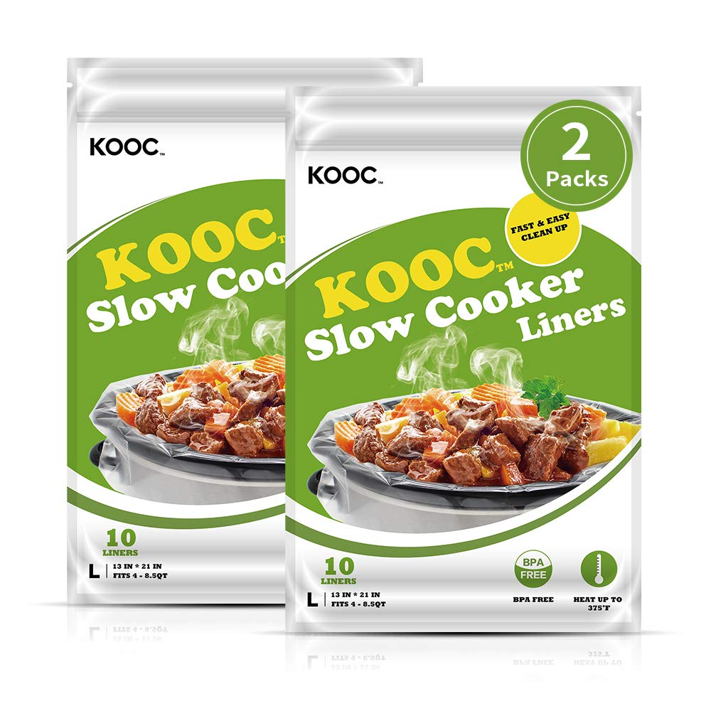 """[NEW]KOOC Premium Slow Cooker Liners and Cooking Bags, Large Size Fits 4QT to 8.5QT Crock Pot, 13""""x 21"""" , 2 Packs (20…"""