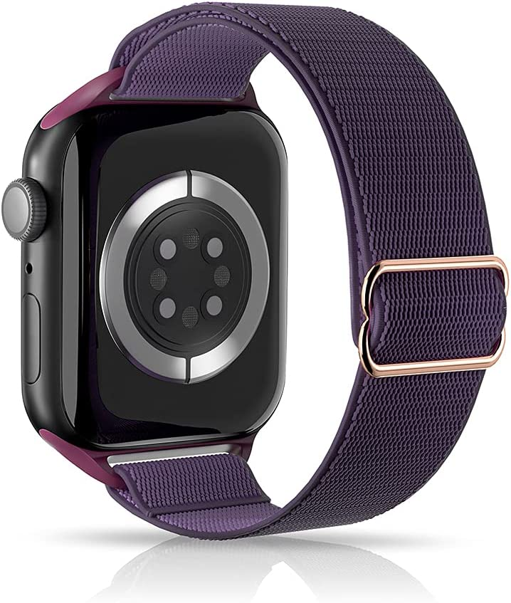 ARCEED Adjustable Stretchy Bands Compatible with Apple Watch Band 38mm 40mm 42mm 44mm,Women Men Elastic Sport Solo Loop Nylon Wristbands for iWatch Series SE/6/5/4/3/2/1(Purple Grapes,38/40mm)