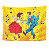 Breezat Tapestry Rockabilly Couple Man and Woman Dancing Vintage Dance Pop Retro Comic Book Swing Home Decor Wall Hanging for Living Room Bedroom Dorm 60x80 Inches