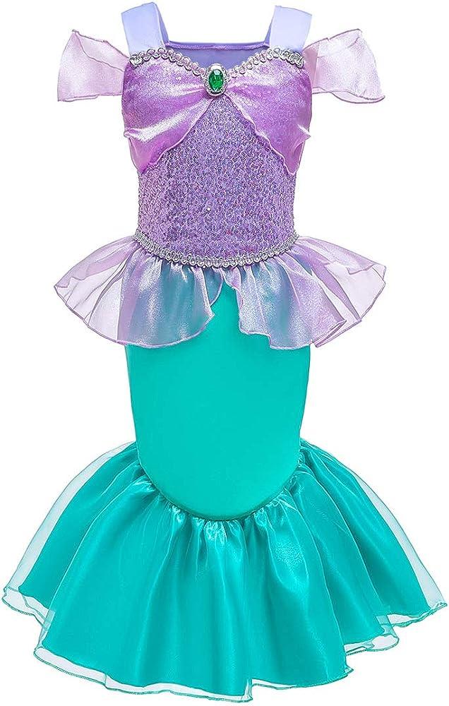 Disfraz de Sirena Infantil Traje para Niña,Vestido Lentejuelas de ...